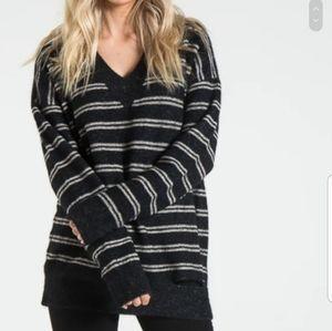 Philantropy Dune Sweater Black Striped SZ L NWT